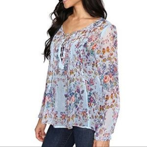 Lucky Brand Sz s sheer floral blouse